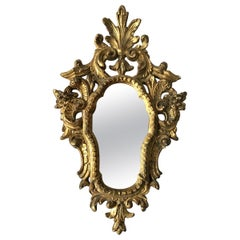 Small 1950s Italian Hand Carved Giltwood Mirror