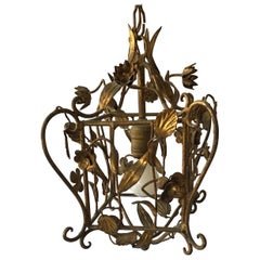 Small 1960s Gilt Iron Italian Floral Fixture