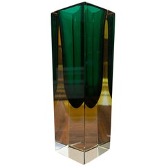 Small 1970s Green and Yellow Rectangular Murano Sommerso Glass Vase