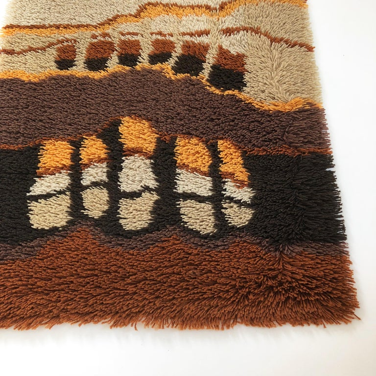 Dutch Small 1970s Modernist Multi-Color High Pile Rya Rug by Desso, Netherlands No. 2 For Sale