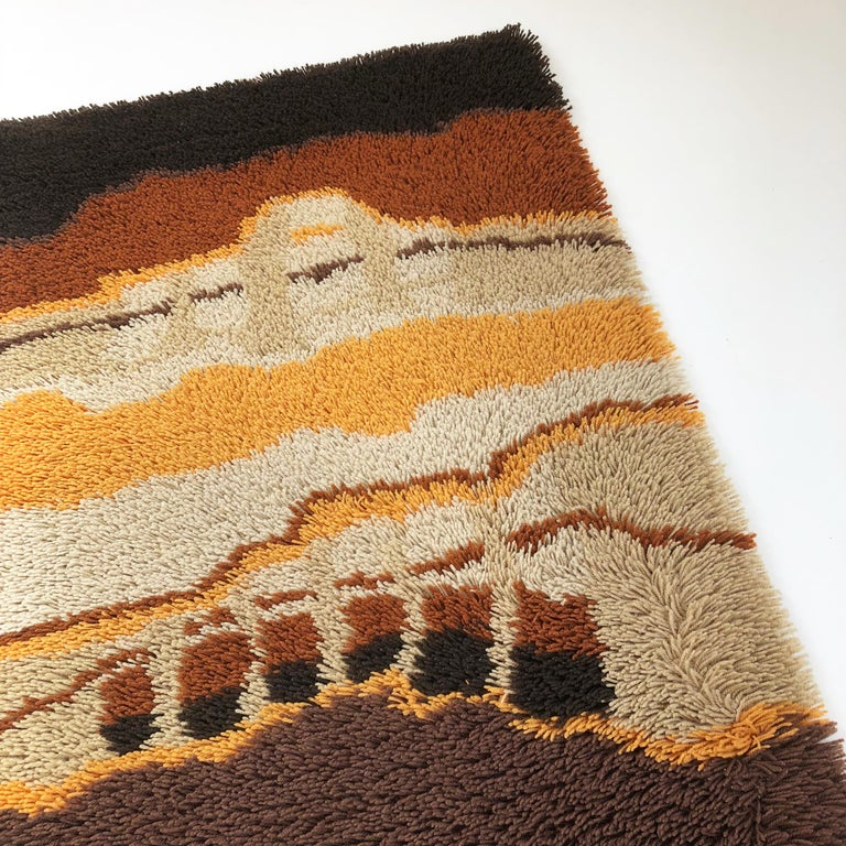 20th Century Small 1970s Modernist Multi-Color High Pile Rya Rug by Desso, Netherlands No. 2 For Sale