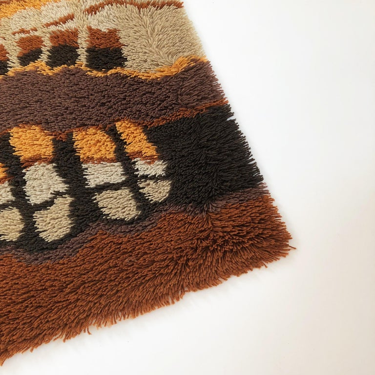 Acrylic Small 1970s Modernist Multi-Color High Pile Rya Rug by Desso, Netherlands No. 2 For Sale
