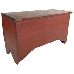 Small 19th Century American Red Painted Blanket Chest