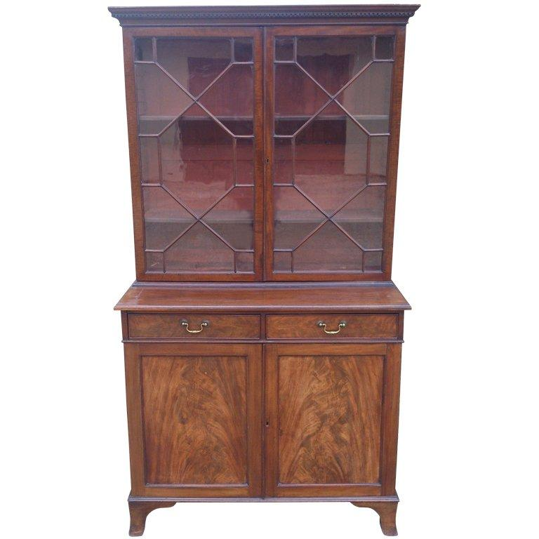 Small 19th Century Antique Bookcase with Flame Mahogany Doors 1