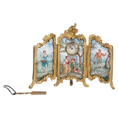 Small 19th Century Bronze and Enamel Pendulum Screen
