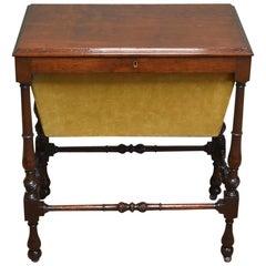 Small 19th Century Edwardian Mahogany Antique Work Box, Side Table