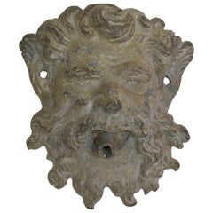 Small 19th Century English Lead Satyr Fountain Head