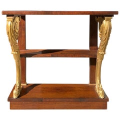 Small 19th Century English Regency Style Drinks Table with Carved Giltwood
