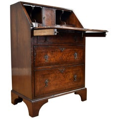 Small 19th Century English Victorian Burr Walnut Bureau