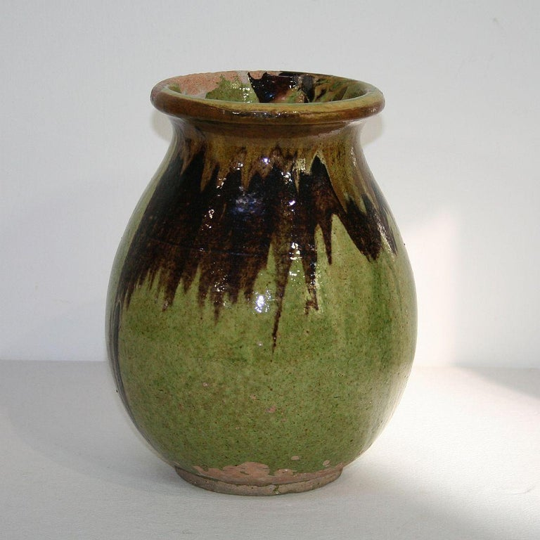Small 19th Century French Glazed Terracotta Biot Jar For Sale 1
