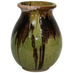 Small 19th Century French Glazed Terracotta Biot Jar