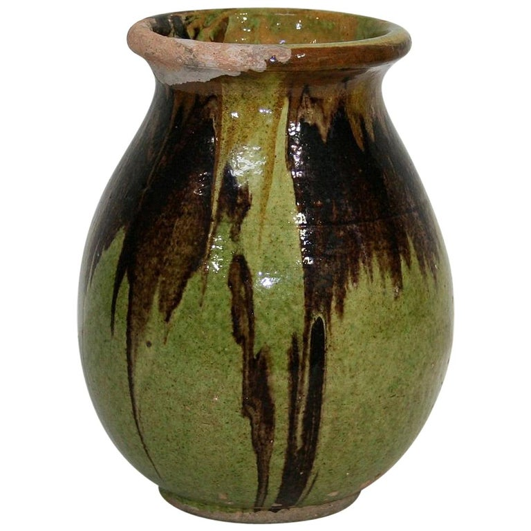 Small 19th Century French Glazed Terracotta Biot Jar For Sale