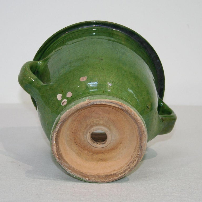 Small 19th Century French Green Glazed Earthenware Castelnaudary Planter 4