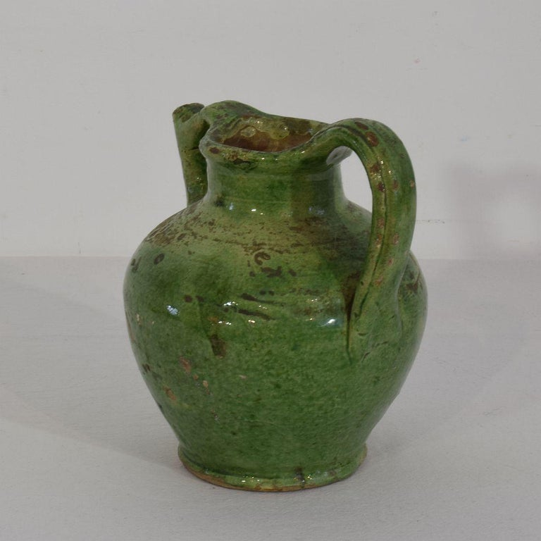 French Provincial Small 19th Century French Green Glazed Terracotta Jug or Water Cruche For Sale