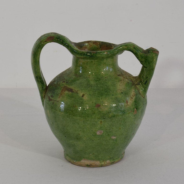 Small 19th Century French Green Glazed Terracotta Jug or Water Cruche For Sale 1