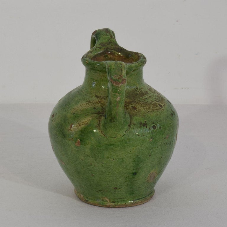 Small 19th Century French Green Glazed Terracotta Jug or Water Cruche For Sale 2