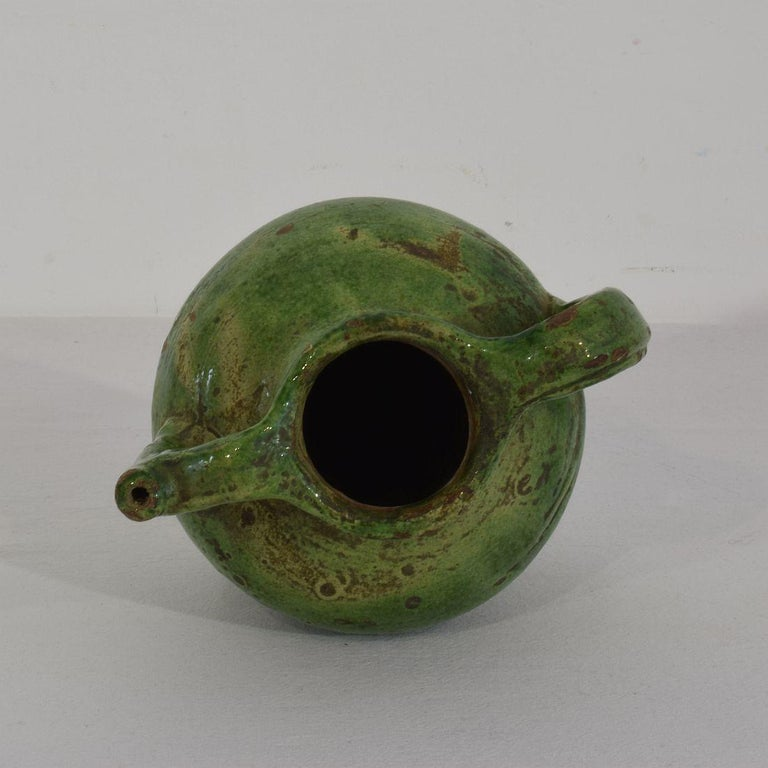 Small 19th Century French Green Glazed Terracotta Jug or Water Cruche For Sale 3