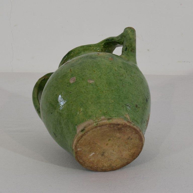 Small 19th Century French Green Glazed Terracotta Jug or Water Cruche For Sale 4