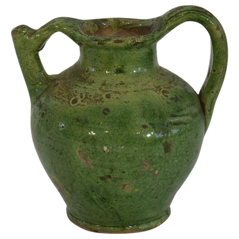 Small 19th Century French Green Glazed Terracotta Jug or Water Cruche For Sale
