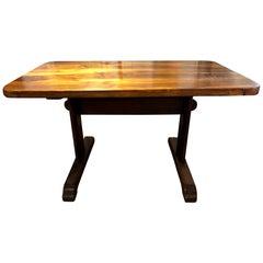 Small 19th Century French Provincial Circassian Walnut Trestle Table