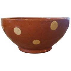 Small 19th Century French Provincial Terracotta Bowl with Cream Polka Dots