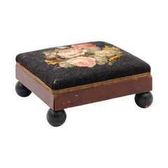 Small 19th Century French Tapestry Footstool with Bouquet of Pink Roses Décor