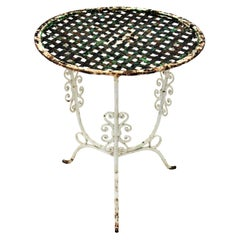 Small 19th Century French Three-Leg Terrace Lattice Iron Grid Round Drinks Table