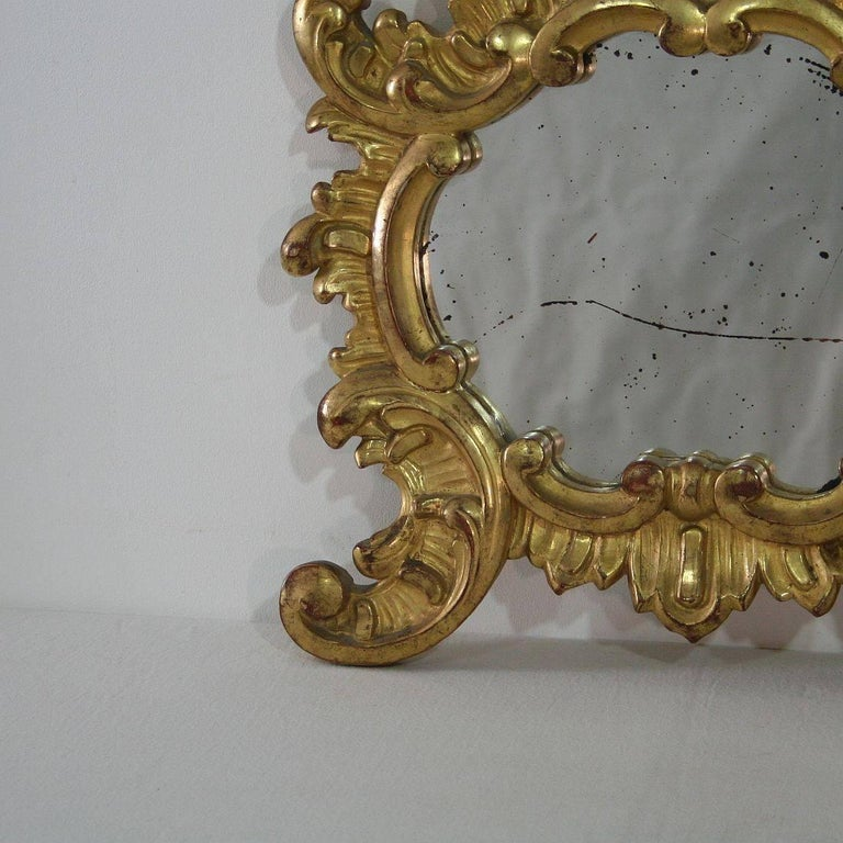 Small 19th Century Italian Giltwood Baroque Style Mirror For Sale 1