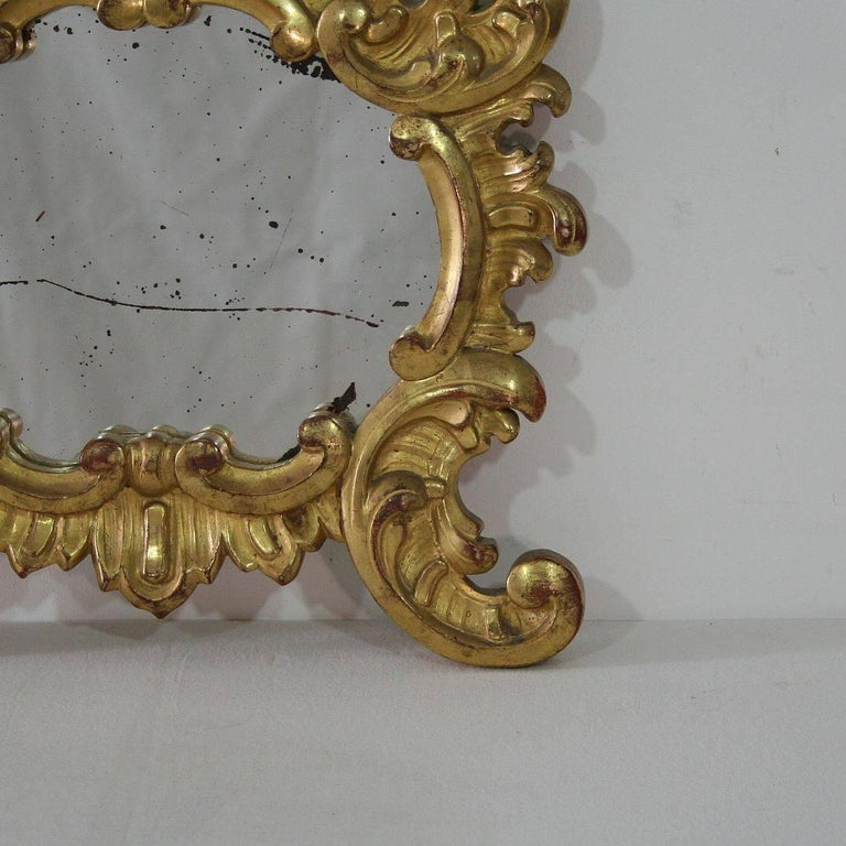 Small 19th Century Italian Giltwood Baroque Style Mirror For Sale 2