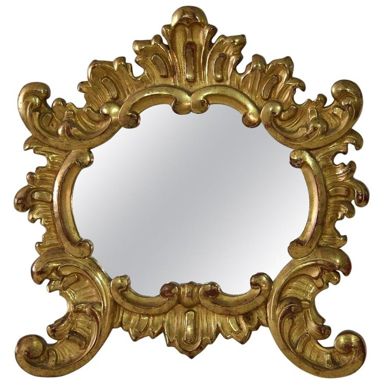 Small 19th Century Italian Giltwood Baroque Style Mirror For Sale