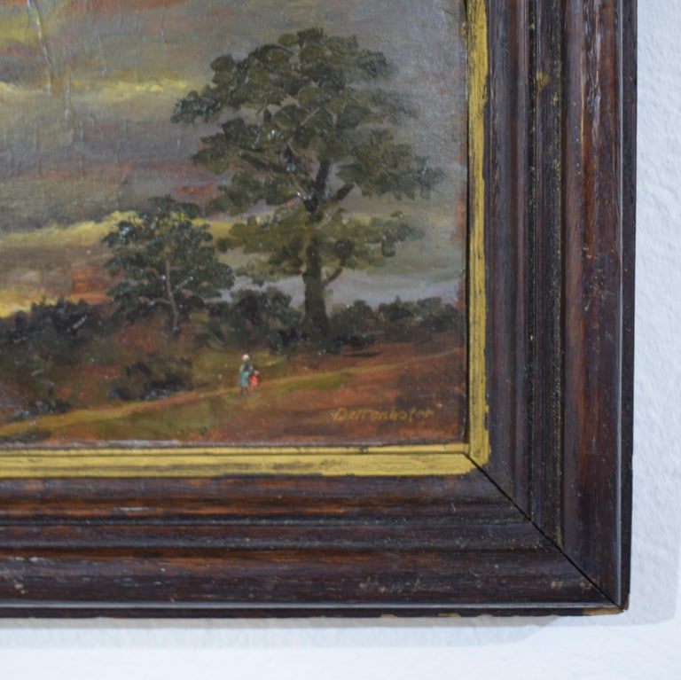 This beautiful small 19th century Biedermeier landscape oil painting by German Painter Dettenhofer was painted, circa 1880. It comes with the original frame.