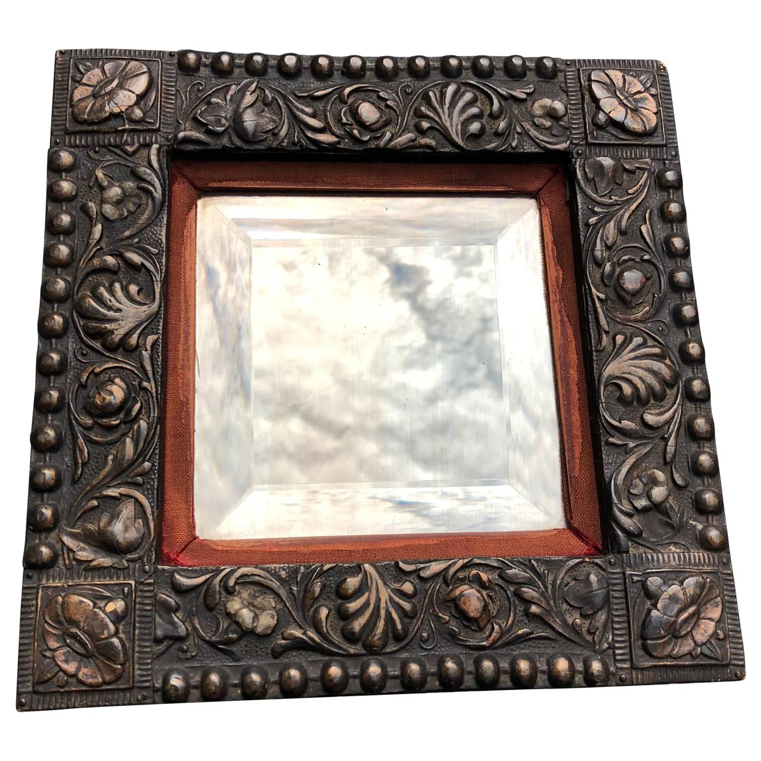 Small 19th Century Molded Metal-Framed Mirror