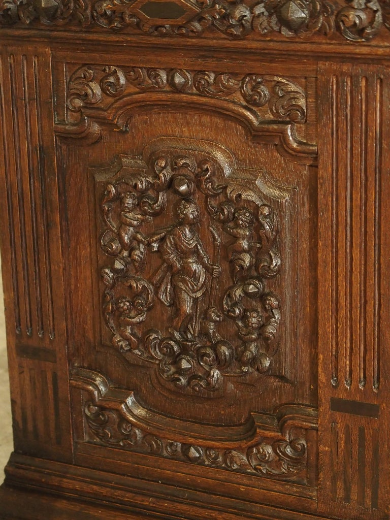 Small 19th Century Oak Carved Table Cabinet With Front