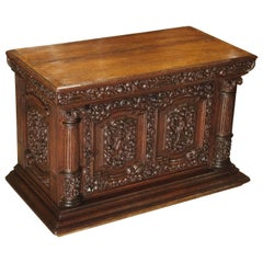 Small 19th Century Oak Carved Table Cabinet with Front Opening Door