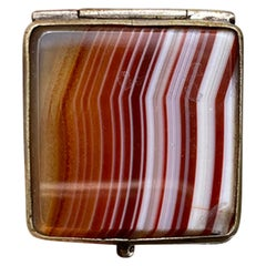 Small 19th Century Scottish Silver Plated Agate Pill Box or Stamp Box, Unmarked