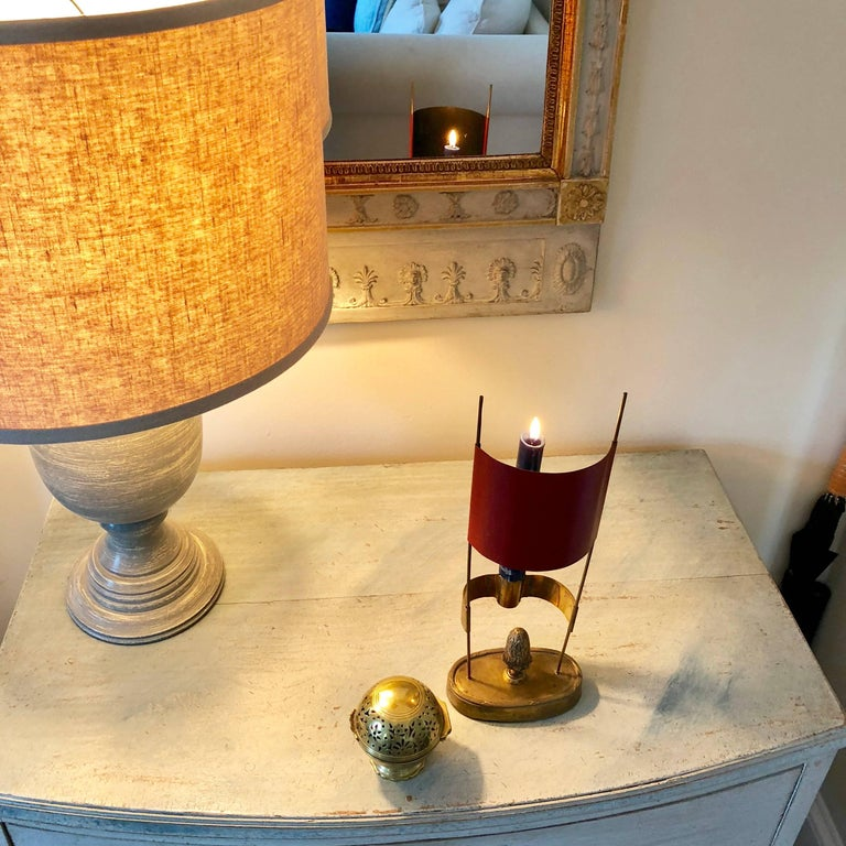 Small 19th Century Swedish Red Shade Brass Candlestick For Sale 2