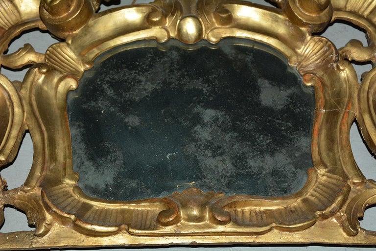Rococo Small 19th Century Venetian Giltwood over Mantel Mirror For Sale