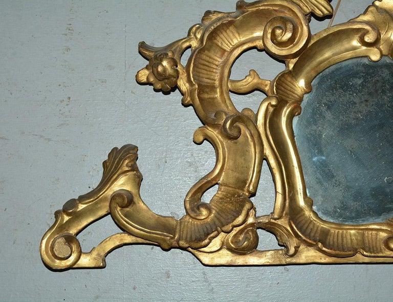 Italian Small 19th Century Venetian Giltwood over Mantel Mirror For Sale
