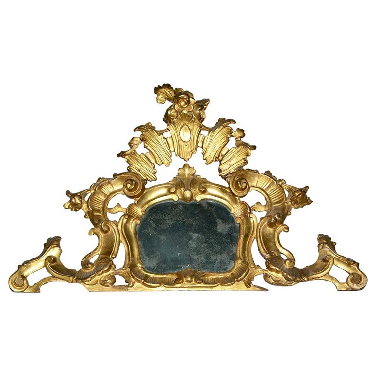 Small 19th Century Venetian Giltwood over Mantel Mirror For Sale