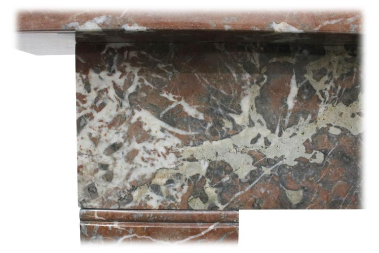 Small 19th Century Victorian Rouge Marble Fireplace Surround For Sale 2