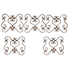 Small 19th Century Wrought Iron Window Grills or Grates, Set of 5