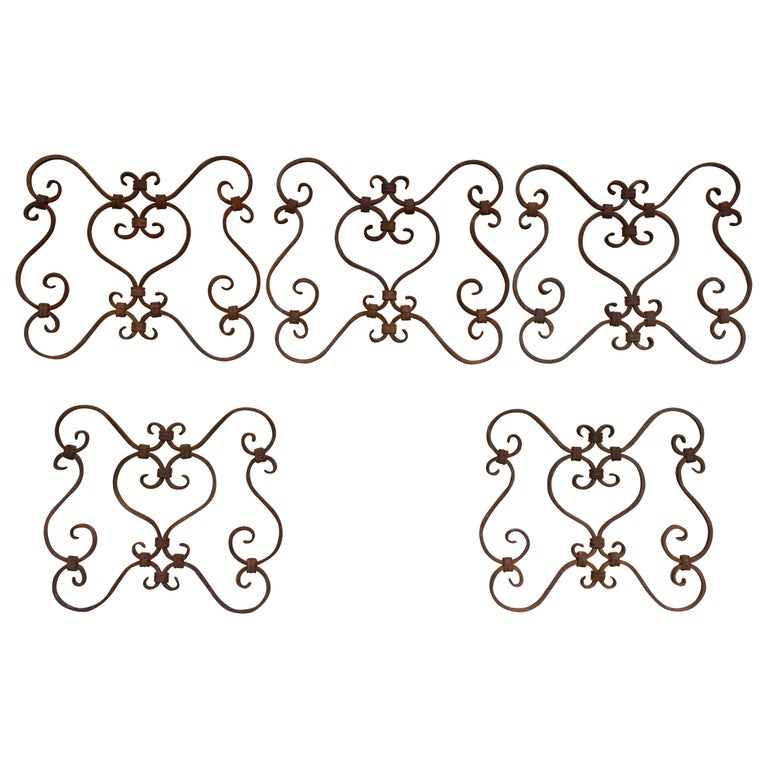 Small 19th Century Wrought Iron Window Grills or Grates, Set of 5 For Sale