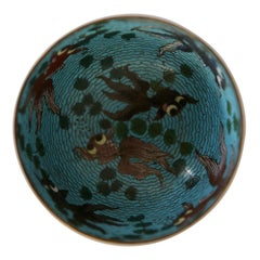 Small 19th Chinese Cloisonné Bowl with Fish Decor