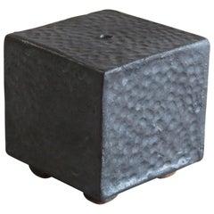 Small, Cube Ceramic Contemplation Box in Metallic Black-Brown