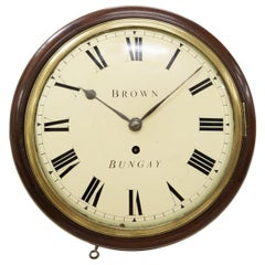Small 9 inch English Fusee Dial Clock by Brown, Bungay