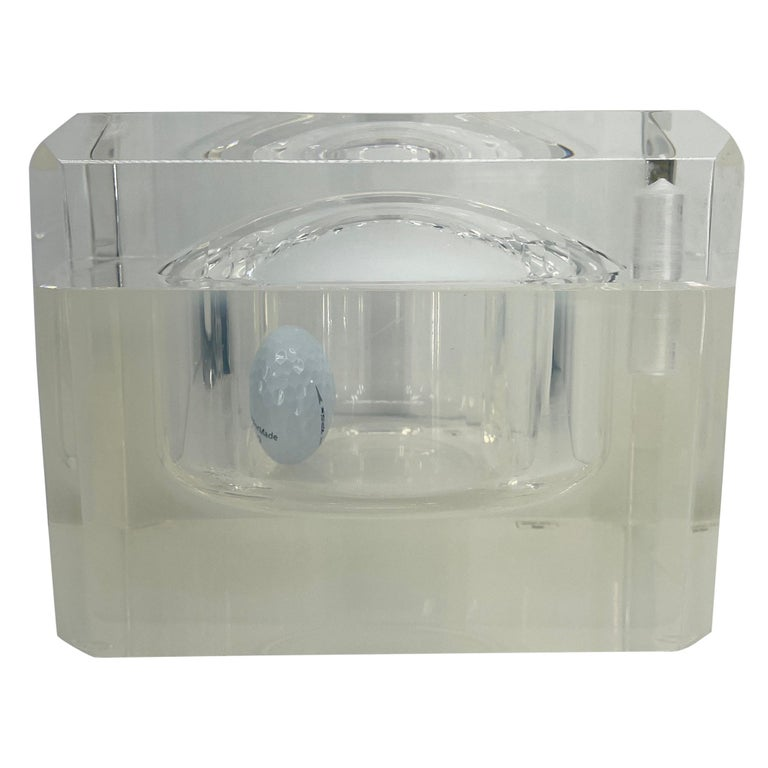 Small Abrizzi Lucite Ice Bucket with Beveled Swivel Top, Mid-Century Modern For Sale