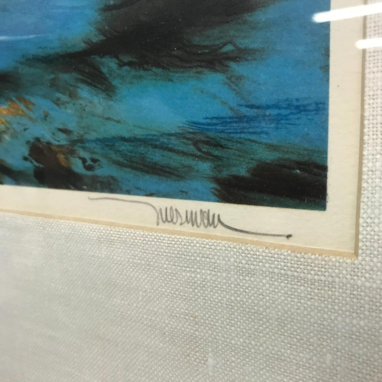 """For your consideration, a vintage small lithography by Leonardo Nierman. Signed on pencil in the lower right. Inscription in the lower left """" 184/250"""".  Beautiful abstract with dominant blue color. Original frame with gold trim. Made in Mexico"""