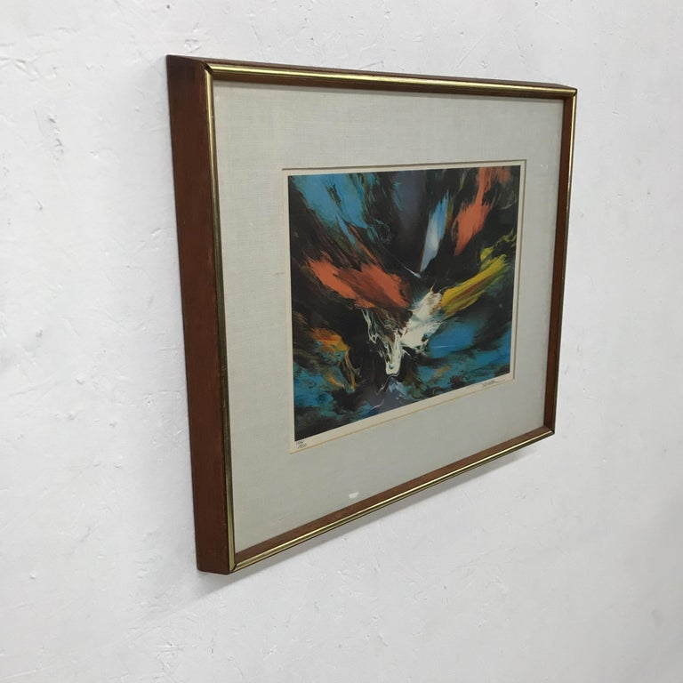Mexican Small Abstract Wall Art Leonardo Nierman Lithograph #2 Signed 184/250 For Sale