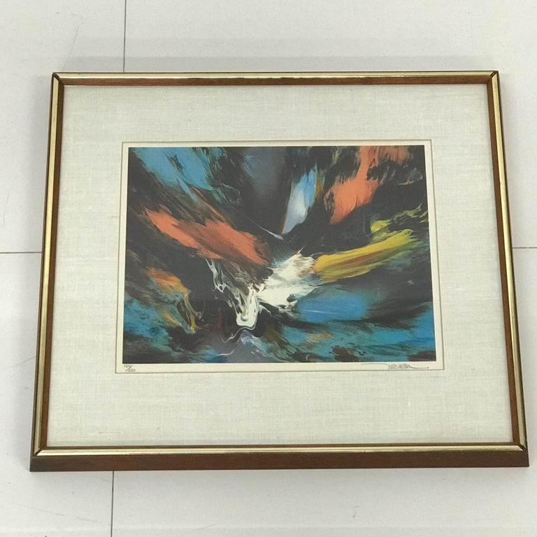 Small Abstract Wall Art Leonardo Nierman Lithograph #2 Signed 184/250 In Good Condition For Sale In National City, CA