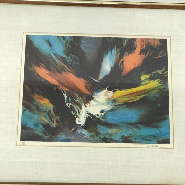 Late 20th Century Small Abstract Wall Art Leonardo Nierman Lithograph #2 Signed 184/250 For Sale
